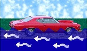 Illustration of a Car Stalling in Water