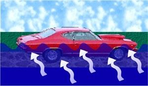 Illustration of a Car Floating in Water